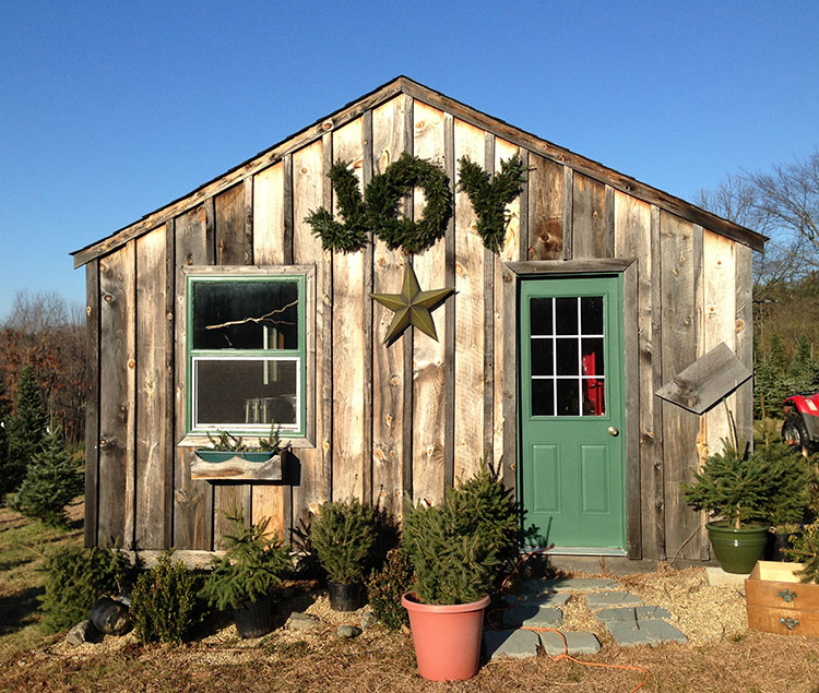 "Barn at Riverwind Tree Farm with ""Joy"" wreath"